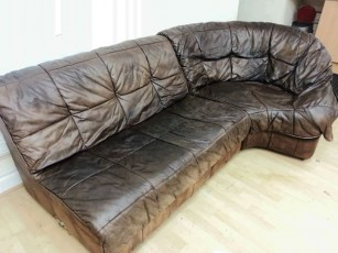 German aniline sofa after