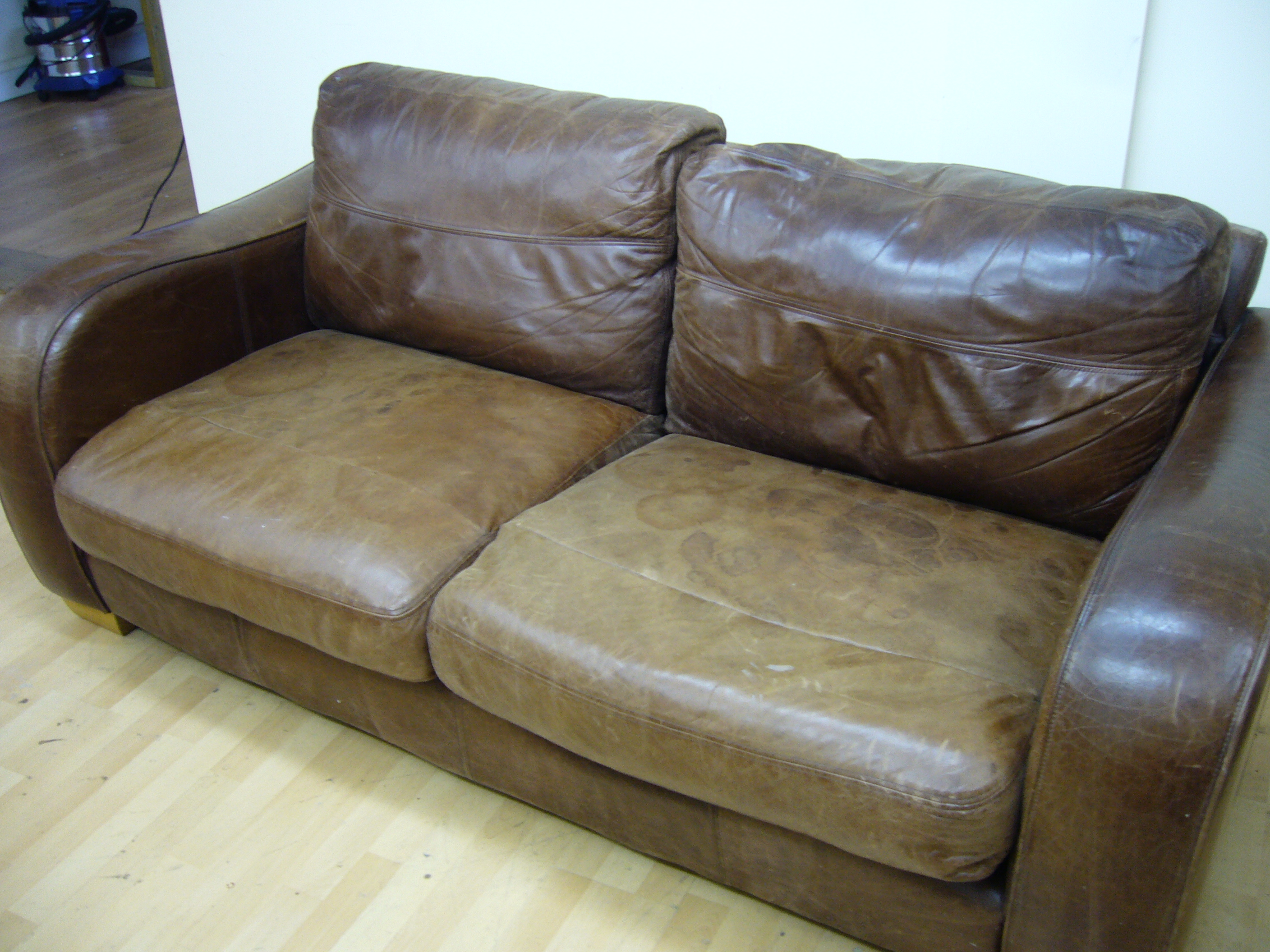 Aniline sofa, seriously stained!