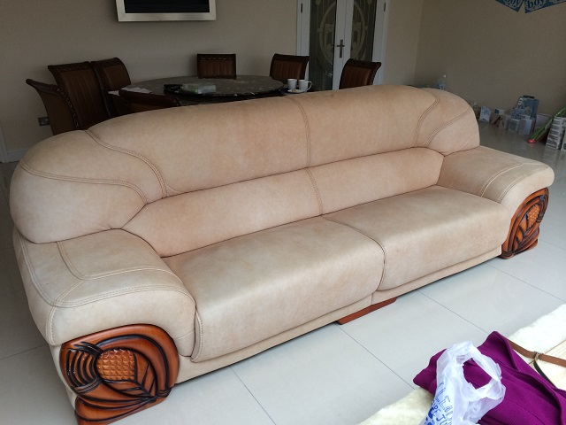 Brushed aniline leather sofa... Colour destroyed by sun damage