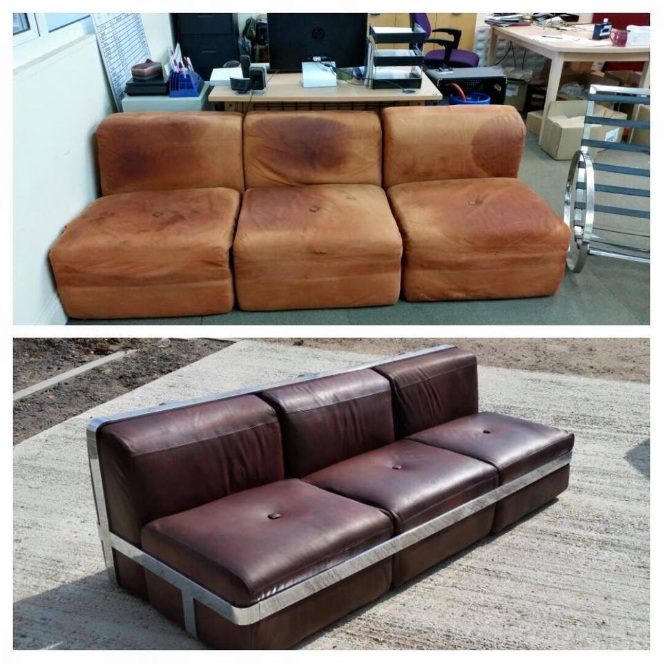 This modular mid century couch has been completely re-upholstered in a natural aniline leather and then hand dyed to the customer's requirements.