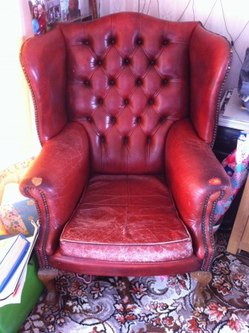 Wingback chair needs restoration and repair