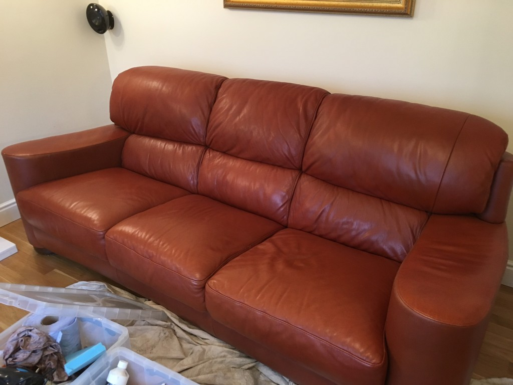 Oily stain removed from leather sofa