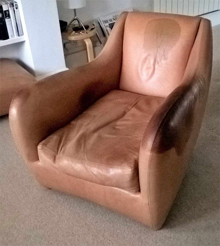Balzac chair aniline leather staining