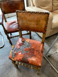Ripped leather to antique dining chair