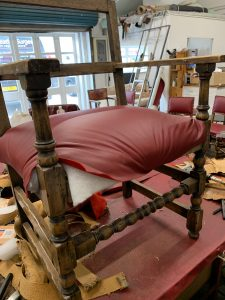 Traditional reupholstery in leather